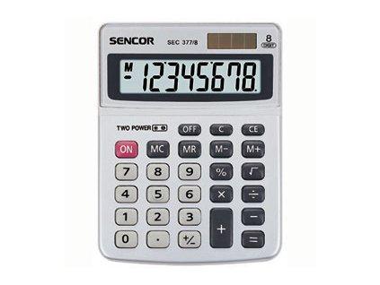 Sencor Stolní kalkulačka s kovovým štítkem SEC 377/8, naklopený displej