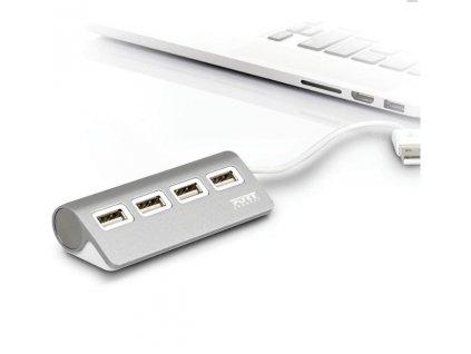 PORT CONNECT USB HUB, 4x USB 3.0, šedý