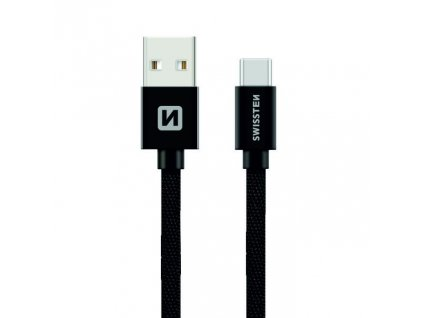 SWISSTEN Textile USB-C, datový kabel, černý, 1,2 m
