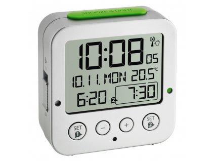 TFA digitální budík s hodinami řízenými DCF signálem 60.2528.54 BINGO - stříbrný