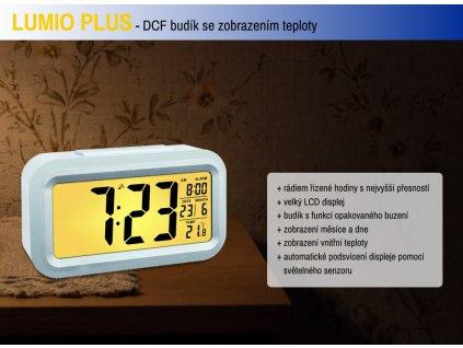 TFA rádiem řízený digitální budík s možností podsvícení 60.2553.02 LUMIO PLUS - barva bílá