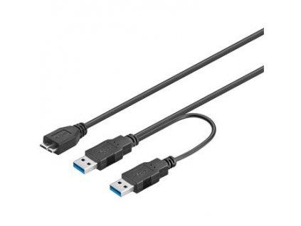PremiumCord USB 3.0 napájecí Y kabel A/M + A/M -- Micro B/M