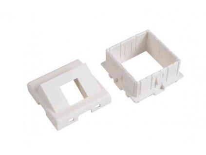 SOLARIX modul French style, 45x45mm, pro 1 keystone, 45°, bílý, dvířka