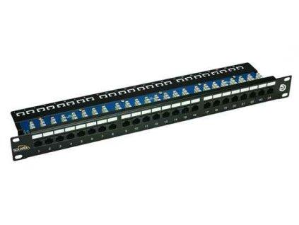 SOLARIX patch panel, CAT5E, 24 x RJ45, UTP s vyvazovací lištou, černý, 1U