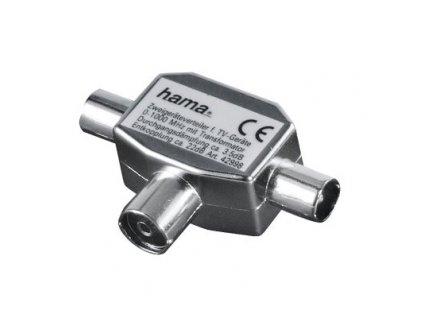 HAMA rozbočovač pro TV, koaxiální zásuvka - 2 koaxiální vidlice (45124)