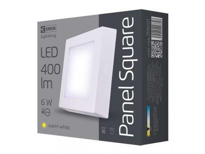 LED přisazené svítidlo, čtverec 6W teplá bílá
