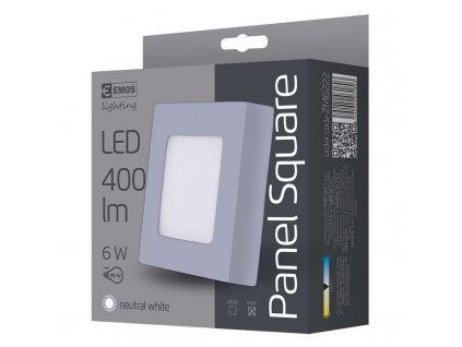 LED přisazené svítidlo, čtverec stříbrná 6W neutrální bílá