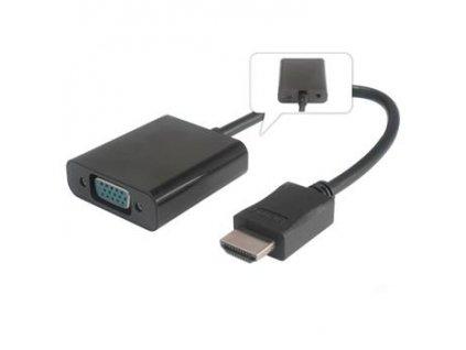 Převodník HDMI na VGA se zvukem 3,5mm stereo jack - černý