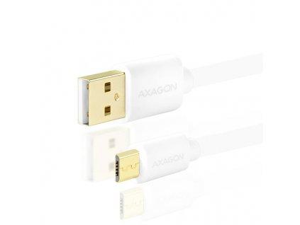 AXAGON BUMM-AM10QW, HQ kabel Micro USB - USB A, bílý, 1m