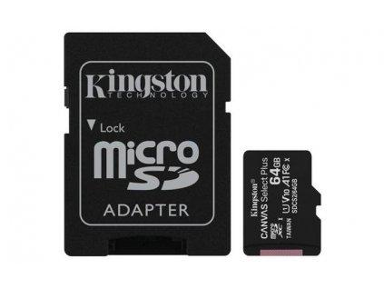 KINGSTON micro SDXC 64GB Canvas Select Plus A1 C10 Card (rychlost až 100 MB/s) + SD adaptér