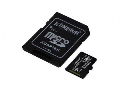 KINGSTON micro SDXC 128GB Canvas Select Plus A1 C10 Card (rychlost až 100 MB/s) + SD adaptér