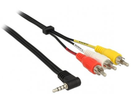 Delock Cable Stereo jack 3.5 mm 4 pin male angled > 3 x RCA male 1.5 m