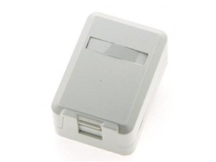 EuroLan modulární zásuvka UTP na omítku, pro 1 keystone, 90°, bílá