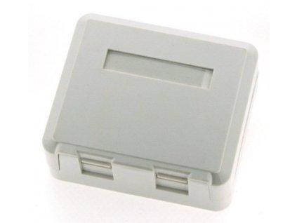 EuroLan modulární zásuvka UTP na omítku, pro 2 keystone, 90°, bílá