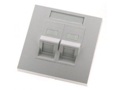 EuroLan modulární zásuvka UTP pod omítku, pro 2 keystone, 45°, bílá