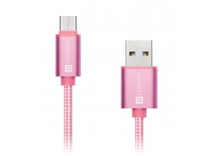 Connect IT Wirez Premium Metallic USB-C, datový kabel USB-C, růžovo zlatý, 1 m