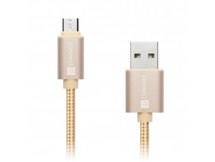 Connect IT Wirez Premium Metallic micro USB, datový kabel, zlatý, 1 m
