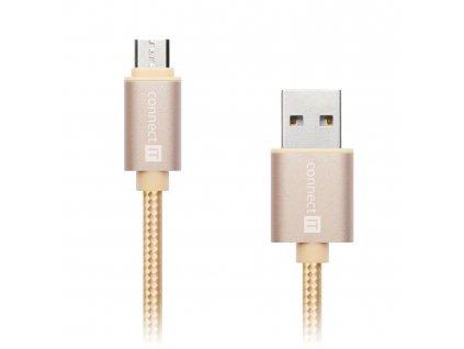 Connect IT Wirez Premium Metallic micro USB, datový kabel, zlatý, 1 m
