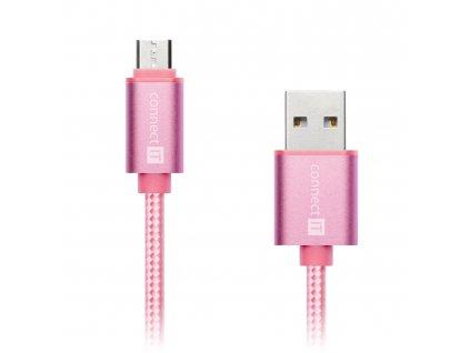 Connect IT Wirez Premium Metallic micro USB, datový kabel, růžovo zlatý, 1 m