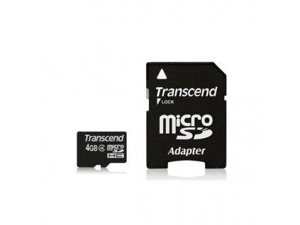 Transcend microSDHC 4GB Class4 + adaptér