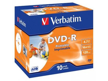 Verbatim DVD-R 4,7GB 16x Printable Jewel (10-pack)