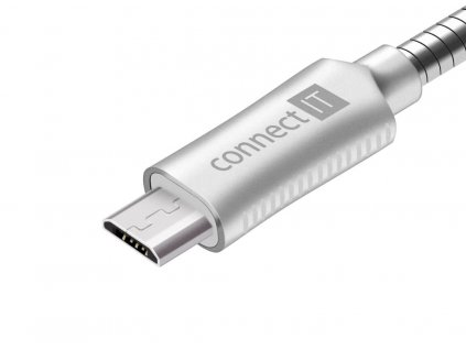 Connect IT Wirez Steel Knight MicroUSB - USB kabel, stříbrný, 1 m