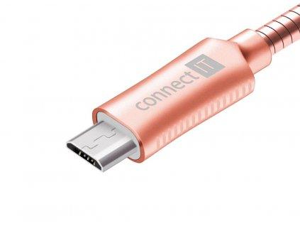 Connect IT Wirez Steel Knight MicroUSB - USB kabel, růžovo zlatý, 1 m