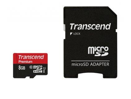 Transcend microSDHC 8GB Class10 UHS-I Premium + adaptér