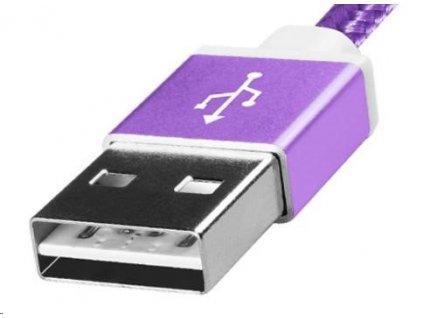 Adata USB kabel A-B micro 1m, pletený, fialový