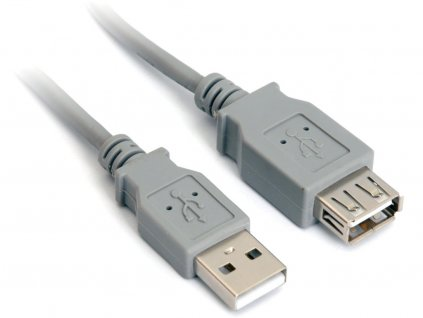 USB 2.0 kabel prodlužovací, A-A, 0,5m šedý