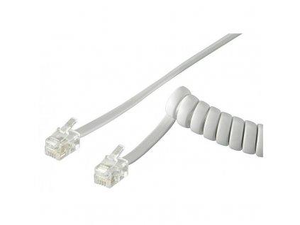 Kabel telefonní kroucený, 2xRJ10 4p4c, 2m, bílý