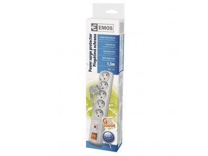 Přepěťová ochrana EMOS 5 zásuvek 1,5m šedá