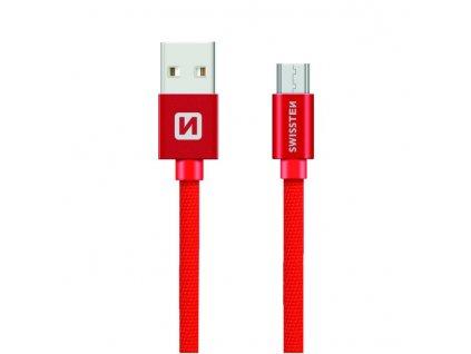 SWISSTEN Textile Micro USB, datový kabel, červený, 0,2 m