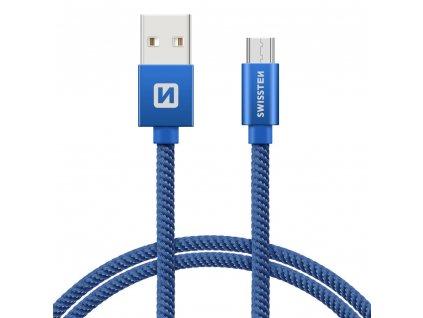 SWISSTEN Textile Micro USB, datový kabel, modrý, 0,2 m