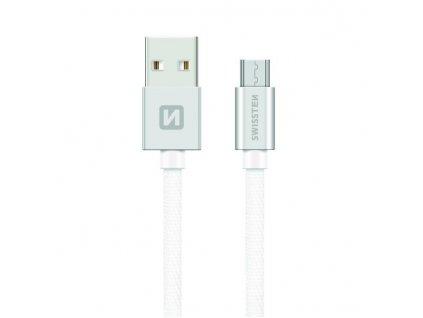SWISSTEN Textile Micro USB, datový kabel, stříbrný, 0,2 m