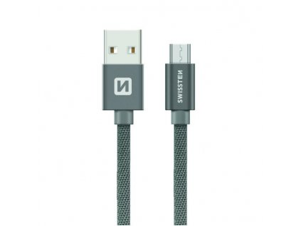 SWISSTEN Textile Micro USB, datový kabel, šedý, 0,2 m