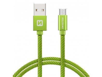 SWISSTEN Textile Micro USB, datový kabel, zelený, 0,2 m