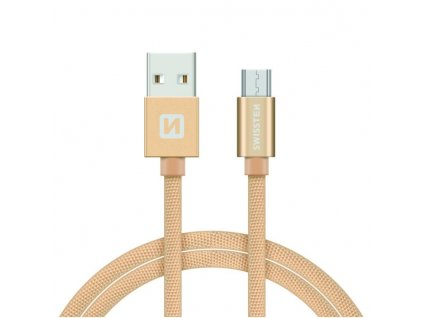 SWISSTEN Textile Micro USB, datový kabel, zlatý, 1,2 m