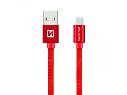 SWISSTEN Textile USB-C, datový kabel, červený, 0,2 m