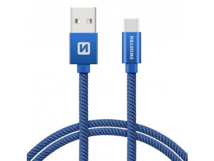 SWISSTEN Textile USB-C, datový kabel, modrý, 0,2 m