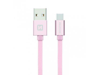 SWISSTEN Textile USB-C, datový kabel, růžovo zlatý, 0,2 m