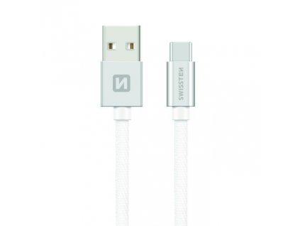 SWISSTEN Textile USB-C, datový kabel, stříbrný, 0,2 m