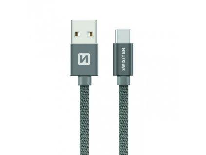 SWISSTEN Textile USB-C, datový kabel, šedý, 0,2 m
