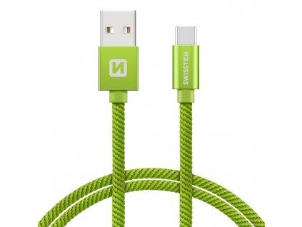 SWISSTEN Textile USB-C, datový kabel, zelený, 0,2 m