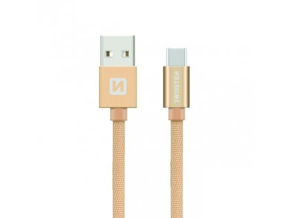 SWISSTEN Textile USB-C, datový kabel, zlatý, 0,2 m