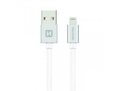SWISSTEN Textile Lightning, datový kabel, stříbrný, 0,2 m