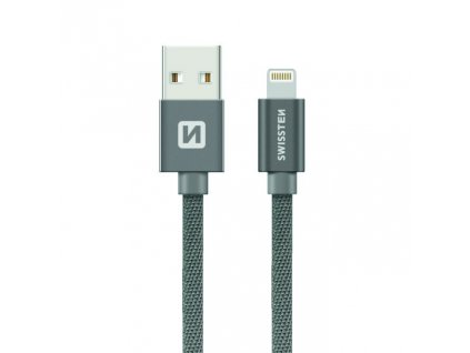 SWISSTEN Textile Lightning, datový kabel, šedý, 0,2 m