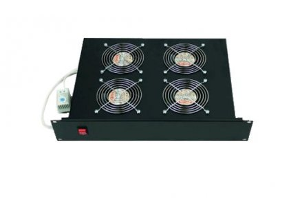"""TRITON 19"""" Ventilační jednotka horizontální 4V 230V/60W 2U černá + termostat"""