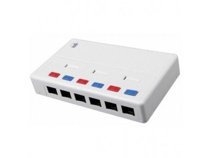 SOLARIX víceportový box, CAT5E, UTP, 6 x RJ45, bílý