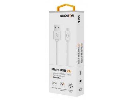 Aligator kabel micro USB, 1m, bílý